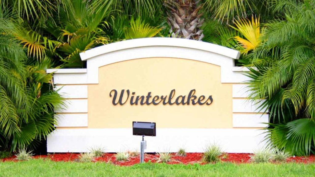 Image of the entrance sign to Winterlakes in Port St. Lucie Florida